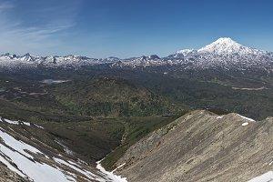 Panorama spring volcano landscape
