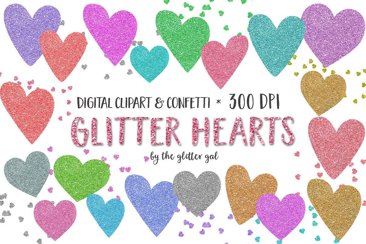 Glitter Hearts & Confetti Clip Art