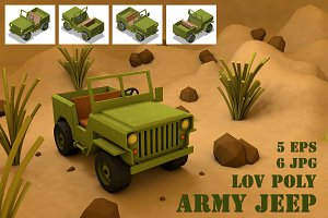 Lov Poly Army Jeep