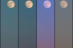 Set of 4- Full Moon Rise Vertical