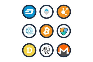 Various Cryptocurrency Signs Set Inside Circles