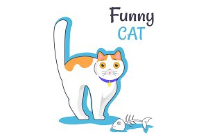 Funny Cat with Fish Bone, Vector Illustration