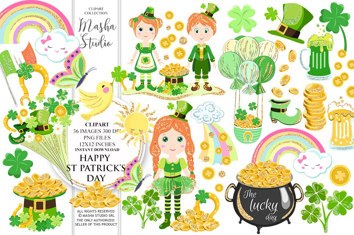 HAPPY ST PATRICK\'S DAY clipart ~ Illustrations ~ Creative Market