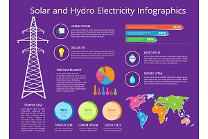 Solar and Hydro Electricity Vector Illustration