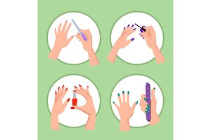 Nail Service Collection Banner Vector Illustration