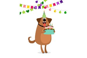 Cartoon dog and cake birthday card