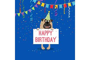 Happy birthday greeting card with dog