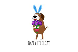 Dog with rabbit ears birthday card