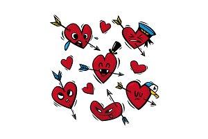 """Funny hearts"" / vector"
