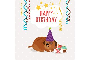 Cute dog and cupcakes birthday card