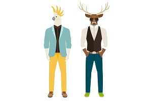 Men with parrot and deer heads