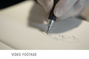 Hand drawing with a pen.
