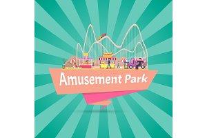 Amusement Park Banner, Title Vector Illustration