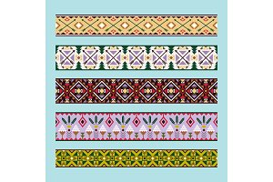 Ethnic pattern colorful ribbons