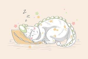 Character sleeping dinosaur