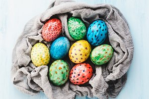 Easter eggs painted with bright colors
