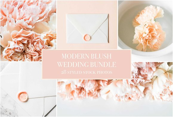 Modern Blush Wedding Bundle  in Product Mockups