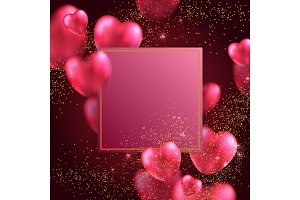 red valentines hearts greeting card.