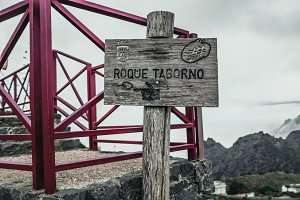 Wooden plaqueof the village Roque Taborno plaque