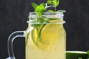 Cold beverage mojito in a glass jar