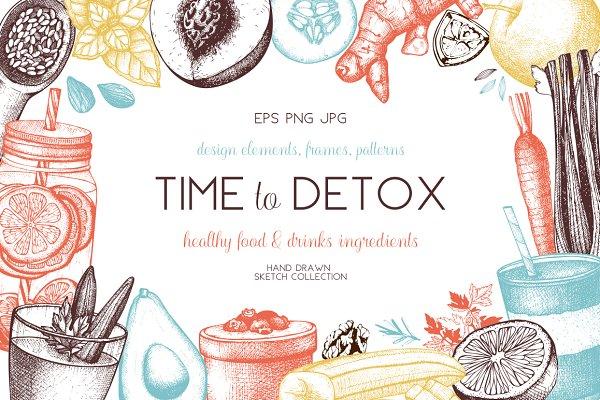 Healthy Food & Drinks Sketch Set