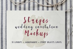 Stripes Wedding Invitation Mockups