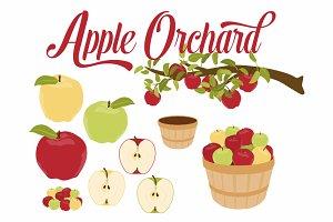 Apple Branch & Basket Vector