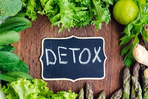Detox concept with green vegetables