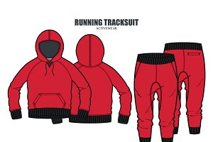 Women Running Tracksuit Vector Set