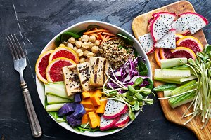 buddha bowl with grilled tofu