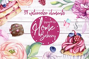 Watercolor collection Home Bakery