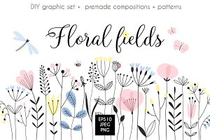 Graphic floral bundle