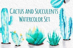 Cactus and Succulents Watercolor Set