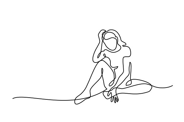 Continuous line drawing. Sitting sa…