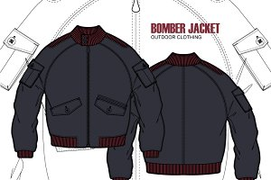 Men Bomber Jacket Clothing Template