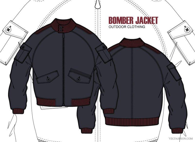 Men Bomber Jacket Clothing Template Illustrations