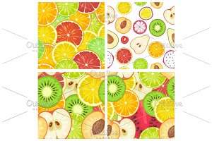 Seamless pattern fruits. Slice apple, kiwi, peach, lime, lemon, orange