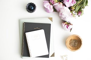 Peony & Planner Styled Flat Lay