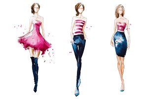 Watercolor fashion illustration