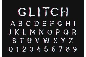 Glitch font. Digital alphabet letter.