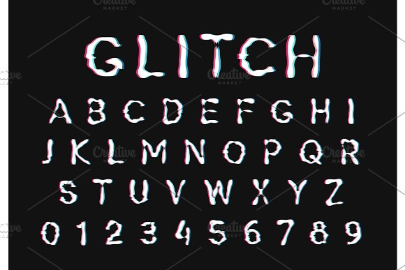 Glitch Font Digital Alphabet Letter