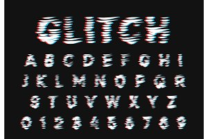 Glitch font. Digital alphabet letter.
