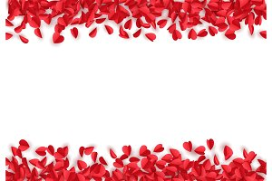 Red and pink of paper hearts isolated on white background