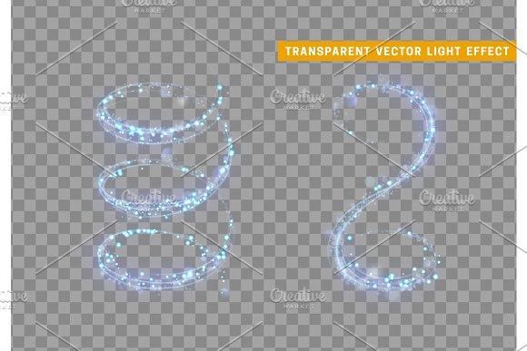 Magic Light Effect Stardust Blue Glitter Sparkle Star Dust Vector Illustration