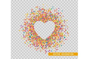 Colorful celebration background with confetti. Heart for text