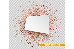 Red bright sparkles background. Paper white bubble for text