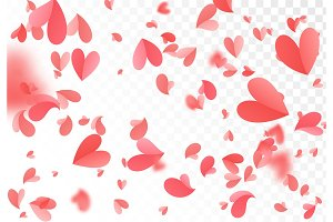 Falling red and pink confetti hearts isolated on transparent background