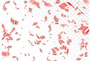 Falling shiny red confetti isolated on transparent background.
