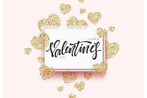 Happy Valentines Day lettering greeting card on golden bright heart, on pink background.