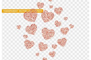 Pink heart bright glitter, isolated with transparent background